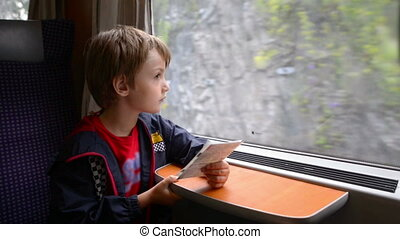 Lonely Kid Traveling by Train