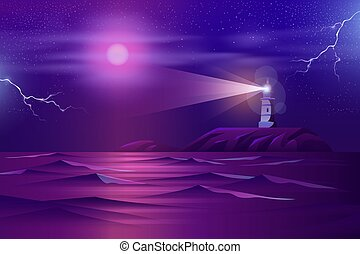 Lonely lighthouse on rocky cliff cartoon vector
