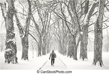 lonely male figure in a blizzard - lonely male figure ...