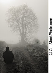 lonely man and tree in the foggy morning