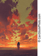 lonely man looking at fiery sunset sky with digital art...