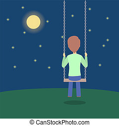 Lonely man sitting on a swing in the night