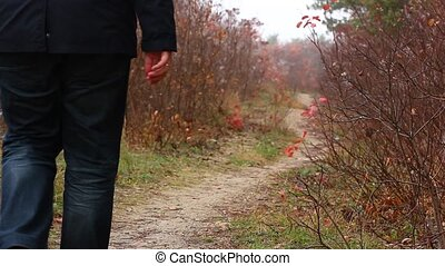 Lonely man walking in the forest