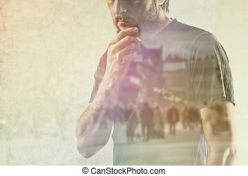 Lonely Mand with Vivid Memories - Conceptual Composite Image...