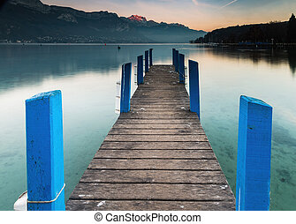 Lonely pier at lake