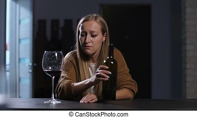 Lonely pretty woman after divorce crying at home - Lonely...