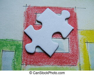 Lonely puzzle on a handmade colored drawing