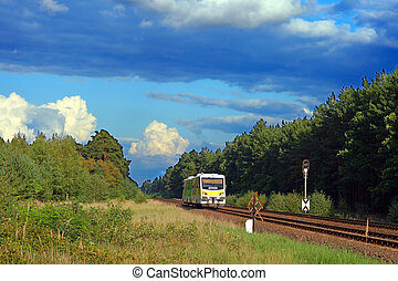 Lonely railbus passing the forest
