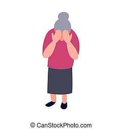 Lonely sad old woman. Mature woman crying covering her face with her hands. Mental health senior problems and psychology help concept.