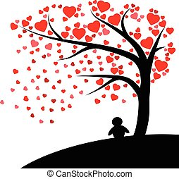 Lonely silhouette man under the tree with Red hearts fall vector isolated on white background