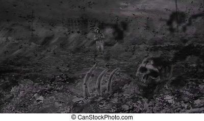 Lonely stalker walks against backdrop of zombie apocalypse....