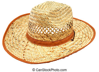 Lonely straw hat on a white background