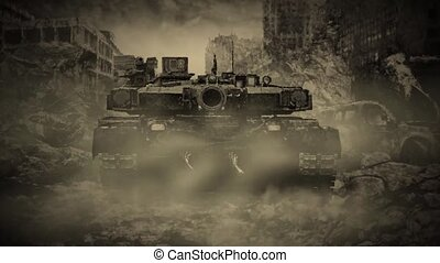 Lonely tank rides through the ruined city during the zombie...