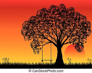Lonely tree at sunset, vector