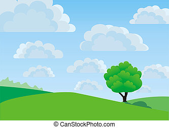 Lonely tree, illustration