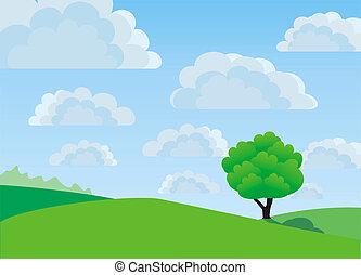 Lonely tree, illustration