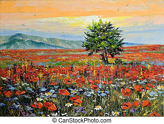 Lonely tree in a floor with poppies at bottom of mountains