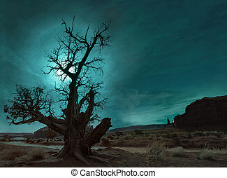 lonely tree in the desert under night sky