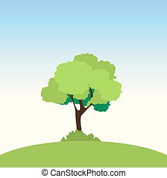 Lonely tree on a green slope. Vector illustration
