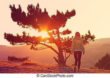 Lonely Tree on Mountain and Woman walking alone to Sunset behind view in orange and pink colors Melancholy solitude emotions concept