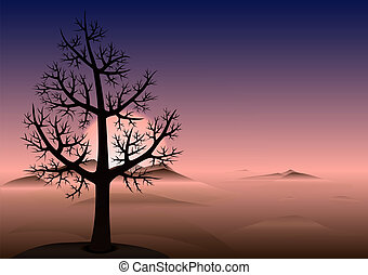 Lonely tree. Sunset. Mountains in fog. Vector Background. -...
