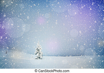 Winter landscape with snow-covered fir-tree in a lonely mountain valley. Christmas theme with snowfall
