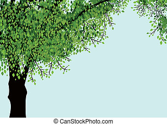 Lonely vector tree - Tree isolated on blue sky background...