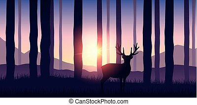 lonely wildlife reindeer in the forest purple nature landscape