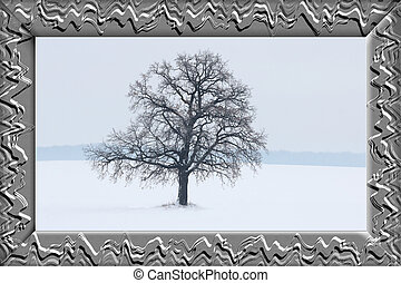 Lonely winter tree on white snow