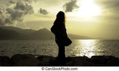 Lonely Woman At Sunset - lonely, romantic, sea, seaside,...