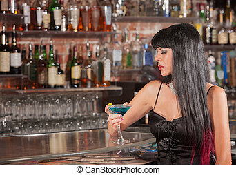 Lonely Woman Drinking in Bar