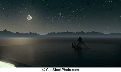 Lonely woman looking at night sky surreal landscape - Lonely...