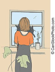 Lonely Woman near the window with cats.