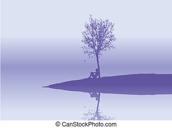 lonely woman sits under a tree . Vector illustration