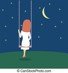 Lonely woman sitting on a swing in the night