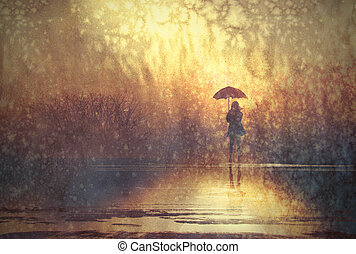 lonely woman with umbrella in lake, illustration