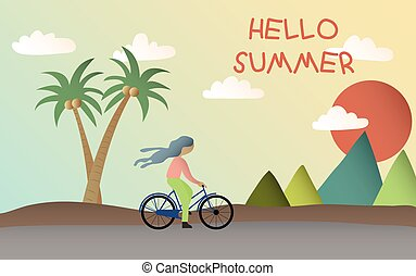 Lonely Women ride a bicycle at the beach on summer, Hello Summer, A girl riding a bike at the sea
