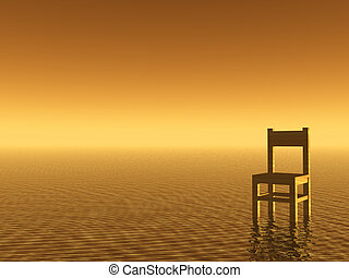 lonely - wooden chair in a water landscape - 3d illustration