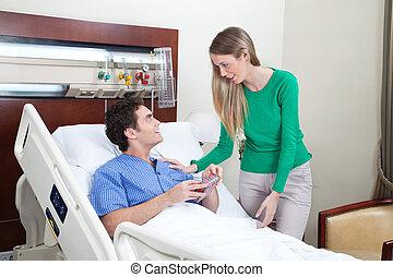 lonend, bezoek, vrouw, patiënt