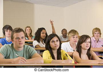 lonend, biedend, scholieren, boeiend, aandacht, een, stand, ...