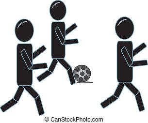 lonend, voetbal, figuren, stok