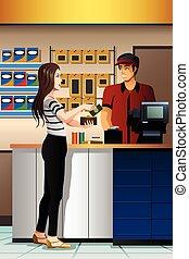 lonend, vrouw, kassier, winkel