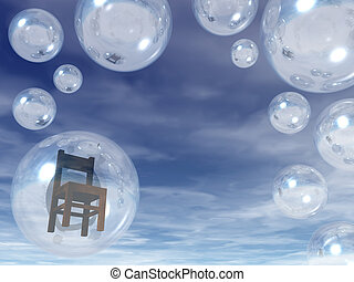 lonesome - soap bubble with chair inside - 3d illustration
