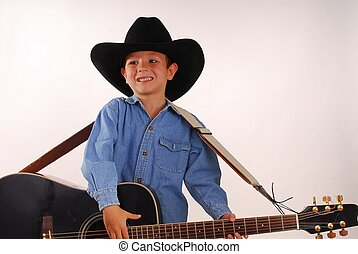 Lonesome Cowboy 3a - Young boy playing guitar