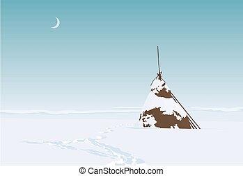 Lonesome haystack on a field in snowy winter. Vector...