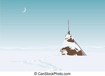 Lonesome haystack on a field in snowy winter. Vector...