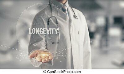 longévité, docteur, tenant main