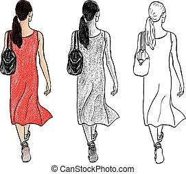 long, été, rue, jour, dessin, jeune, vecteur, marche femme, ...
