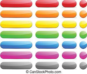 Long and short pill buttons.
