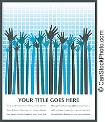 Long armed happy hands design. - Large group of long armed...